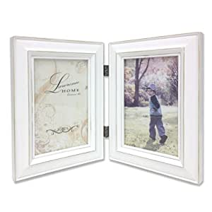 Lawrence Frames Hinged Double Picture Frame, 5 by 7-Inch, Weathered White