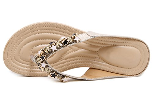 Chancletas Sandalias Para Mujer Brillante Diamantes Metal Estrella Playa Zapatillas De BIGTREE Gold