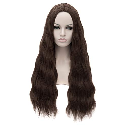 Nunubee Marvel's The Avengers 2 Scarlet Witch Cosplay Women Long Dark Brown Curly Wigs]()