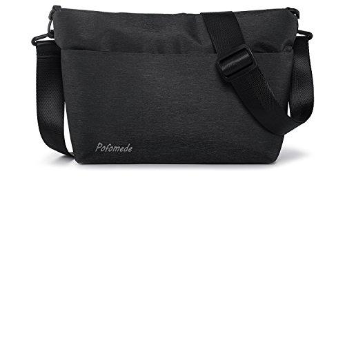 Pofomede Men Travel Purse Small Crossbody Shoulder Bag Mini Messenger Purses Work Daypack Black