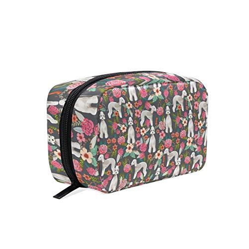 Bedlington Terrier Dog Cosmetic Bags Organizer- Travel Makeup Pouch Ladies Toiletry Case for Women Girls, CoTime Black Zipper ()