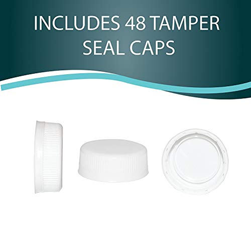 Pack of 48 Empty PET Plastic Juice Bottles - 8 oz Reusable Clear Disposable Milk Bulk Containers with White Tamper Evident Caps by Upper Midland Products (Image #7)