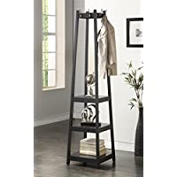 Coat Rack Stand with 3-Tier Storage Shelves and Hooks, Black Finish