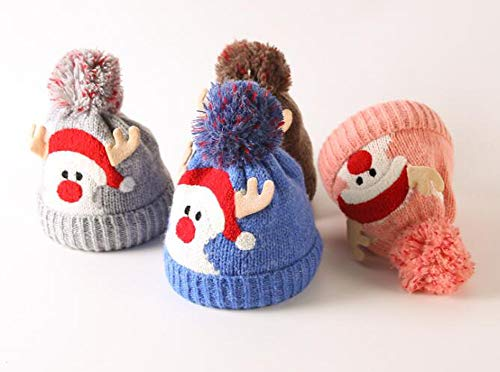 Amazon.com  Christmas Holiday Baby Kids Knitted Warm Hat Toddler Santa Knit  Cap Infant Reindeer Beanie Cap (K-Blue)  Clothing 119f52513aa3