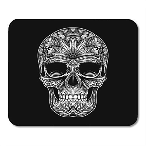 Semtomn Gaming Mouse Pad Sugar Black and White Tattoo Skull on Hand Pattern 9.5