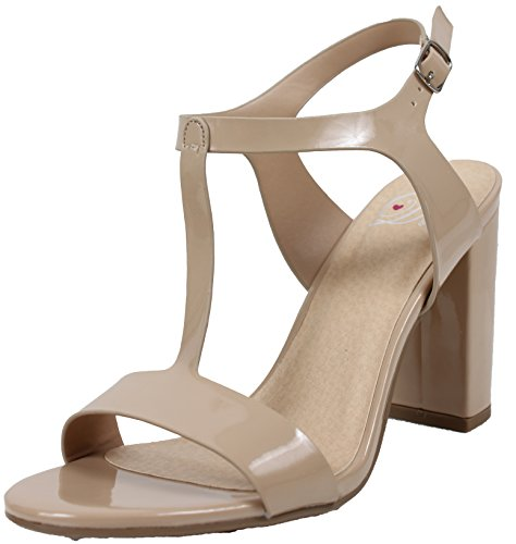 - Delicious Women's Open T Strap Ankle Strap Chunky Heel (Beige, 6.5 B(M) US)