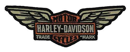 Harley Davidson Wings - Harley-Davidson Embroidered Long Wing Bar & Shield Emblem, 5 x 1.75 in EM153122