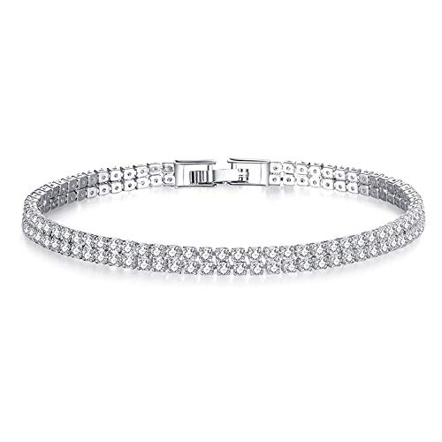 【MOHOLL】 Princess Cut Sapphire Bracelet 925 Sterling Silver Blue Crystal Jewelry for Woman Girls