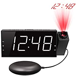 Mesqool Loud Vibrating Projection Alarm Clock, Bed Shaker & Alarm Sound, 7 Digital LED with Dimmer, 12/24H, USB Charger, DST, Battery Backup, Desk Projector Clock for Ceiling, Wall, Bedroom