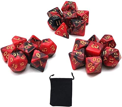 DollaTek polyedrale dobbelstenen set tafelspellen dobbelstenen 3 sets dobbelstenen 3 x 7 21 stuks matrijsserie D20 D12 D10 D8 D6 D4 DND dobbelstenen DND RPG MTG dubbele kleuren één stuk zwart en rood