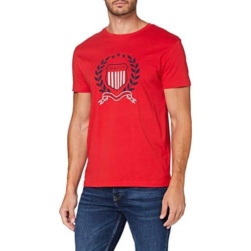 chollos oferta descuentos barato GANT D1 Crest T Shirt Camiseta Rojo Brillante XS para Hombre