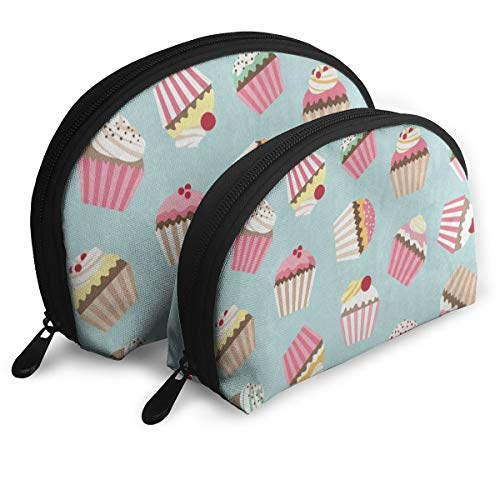 Makeup Bag Vintage Cupcake Cherry Portable Shell Clutch Pouch For Mother Christmas Gift Pack - 2 -