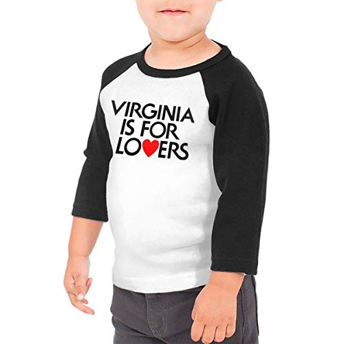 Yimo Virginia is for Lovers Unisex Toddler Baseball Jersey Contrast 3/4 Sleeves Tee 3T Black - Shirt Virginia Classic