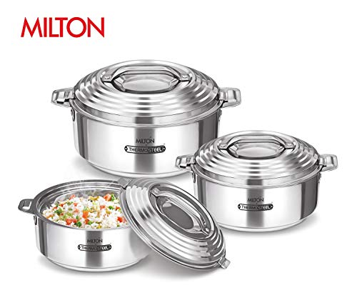 Milton Galaxia Insulated Stainless Steel Hot Pot Serving Bowl with Lid Hot/Cold Upto 4-6 Hours, 3 Pieces Set, Steel
