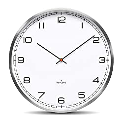 Huygens One35 White Arabic Wall Clock   Stainless Steel