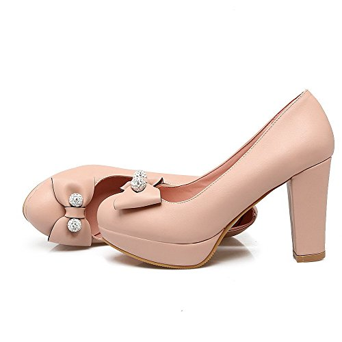 Cuir Talon Unie Chaussures Couleur À Rose Femme Rond Tire Pu Haut Aalardom Légeres CqwEYIx