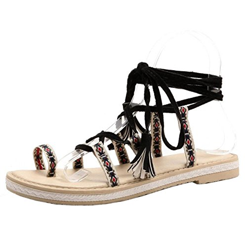 Femmes Plates Sandales Lacets Black RAZAMAZA Chaussures aZ0q4