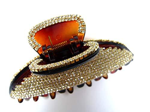 (Yourj Women Hair Jewelry Claw Jaw Clip Clamp Pin Crystal Rhinestone Trim Decor Large Acrylic Plastic Hairpin Korean Handmade Luxury Fashion Accessory (Brown))