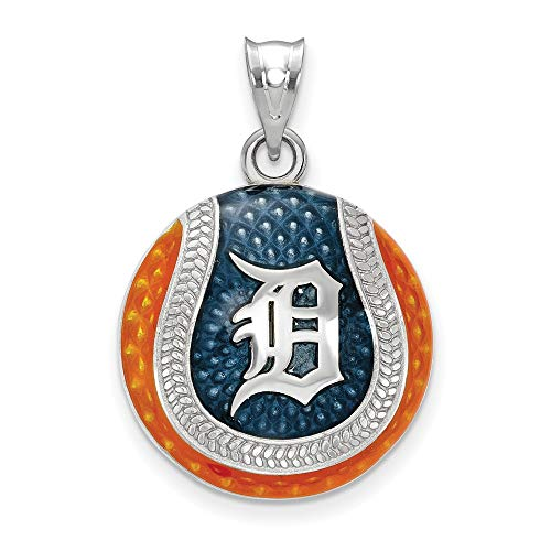 MLB Detroit Tigers Sterling Silver MLB LogoArt Detroit Tigers D Baseball Enameled Pendant Size One Size