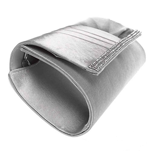 Wedding Clutch Party Silver Pleated For Clutch Rhinestone Handbag Fashion Satin Road Womens Purses Evening amp; qOxPS0