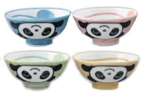 (Assorted Pastel Colors Baby Panda Bear Japanese Rice Bowls, Set of 4)