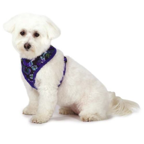M. Isaac Mizrahi Floral Dot Collection Dog Harness, Medium, Blue