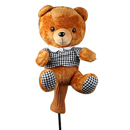 HAIYUE Novelty Golf Head Cover Cute Bear Animal Woods Driver 460cc Fairway Hybrid UT Club Headcovers Gift Accessories for Men Women Children by HAIYUE