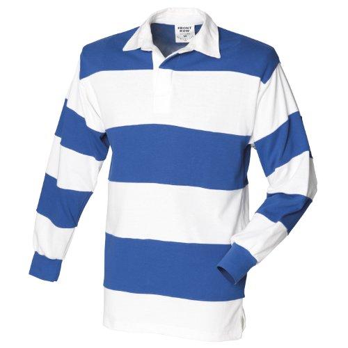 Blanc Manches Coton Homme Et Bleu cold Rayé Longues De Rugby À Polo Front Row Blanc Roi 100 1wqYBaqx