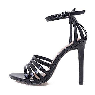 3b475c33e85 ... LvYuan Mujer Sandalias Cuero Patentado Verano Hebilla Tacón Stiletto  Negro Gris oscuro 10 - 12 cms ...