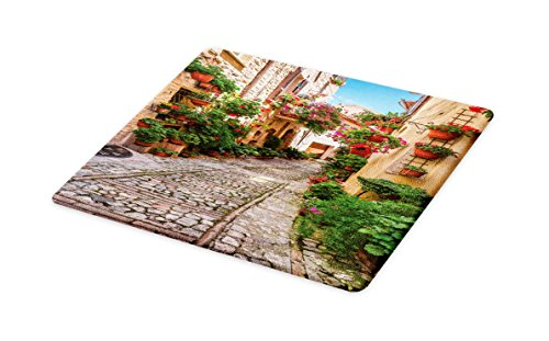 Lunarable Tuscan Cutting Board, Historical Mediterranean Street Flowers Italian Town in Sunny Day Umbria, Decorative Tempered Glass Cutting and Serving Board, Large Size, Ivory Green and Red -