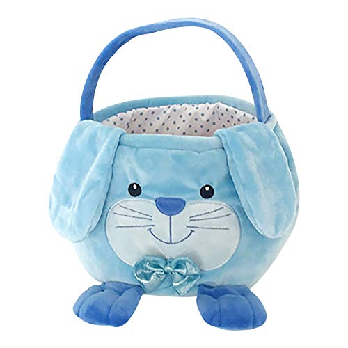 "wSelio Personalized Furry Easter Basket, 4 Adorable Animal Shapes Designs Customized Easter Baskets for Kids Candy Gift Portable Basket-10""H x 8""D (Blue)"