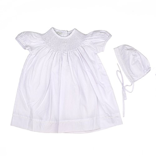 Baby Girl Hand Smocked Christening/Baptism Pearl Cross Bishop Dress with Bonnet - White, 9M
