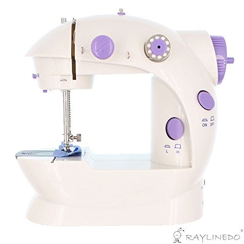 RayLineDo® 2 Speed Electric Mini Stitch Portable Sewing Machine Handheld + 6 x Bobbins + Foot Pedal + Needle & Threader + Power Adapter (UK Plug) + 50pcs 10X10cm Printed All Cotton Patchwork Fabric