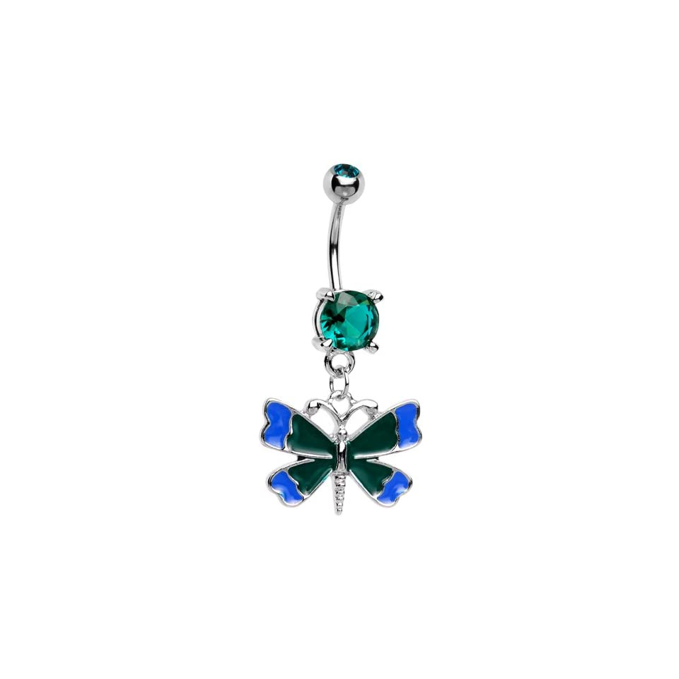 Blue Black Vital Butterfly Belly Ring