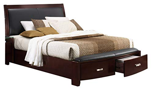 Labeth E King Sleigh Platform Bed with Footboard Storage in Dark Espresso