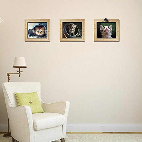 Yanqiao 3D Cartoon Cute Cat Fake Frame Wall Stickers Living Room Bedroom Children's Room Home Decoration DIY Removable Wall Decals 3PCS/SET (Home Pets Framed Tile)