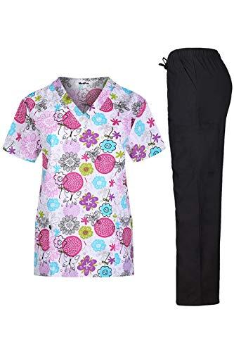MEDPRO Women's Printed Medical Scrub Set V-Neck Top and Pants White Black XL