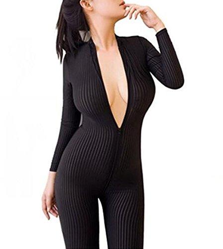 - Happyjiu New Open Crotch Striped Sheer Body Stocking Bodysuit Sexy Lingerie for Women Smooth Fiber Double Zipper Long Sleeves (Black)