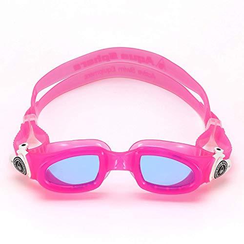 4437b33b378a Aqua Sphere Moby Junior Swim Goggles with Blue Lens (Pink White). UV