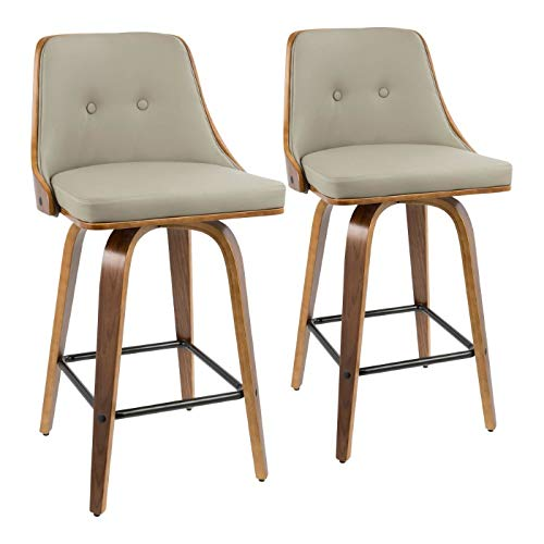 36.5 in. Mid-century Modern Counter Stool - Set of 2