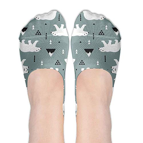 - Women's Cute Polar Bear Blue Gray Thin Casual Hidden No Show Liner No Show Athletic Running Socks Non Slip Flat Boat Line