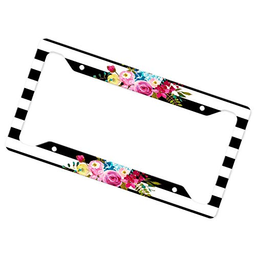 License Plate Frame Boho Floral with Black and White Striped Background