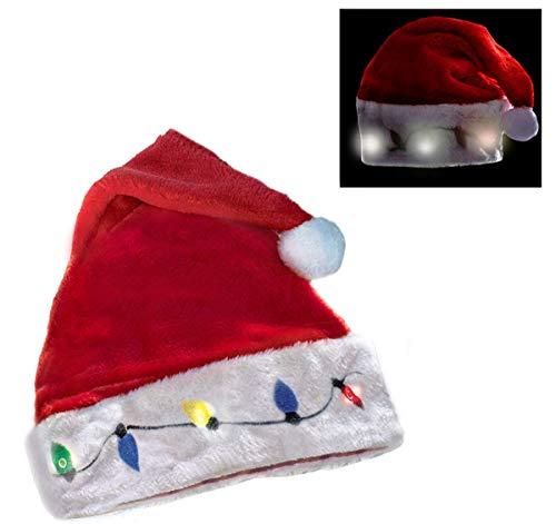 Funny Party Hats Santa Hats - Christmas Novelty Light Up Hats - Blinking Santa Hat - LED Blinking Lights Holiday Hats (1 Pack)