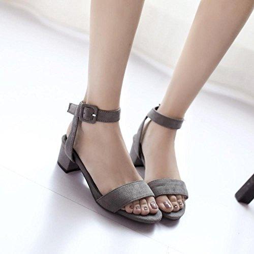 COOLCEPT Mujer Moda Tacon Ancho Punta Abierta Slingback Sandalias Tacon Medio Zapatos for Chicas Gris