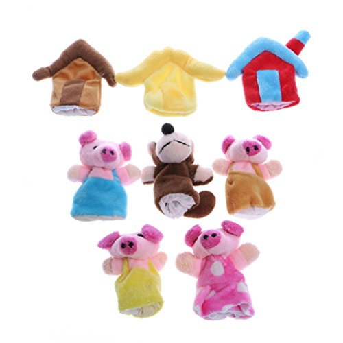 8Pcs Baby Three Little Pig Finger Story Puppets