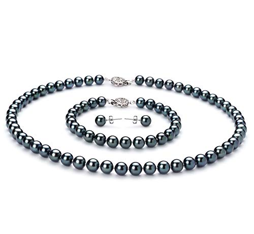 7mm Aa Japanese Akoya Pearl - Black 6.5-7mm AA Quality Japanese Akoya 925 Sterling Silver Cultured Pearl Set For Women-16 in Chocker length
