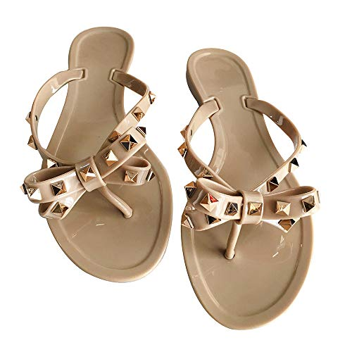 Yehopere Womens Bow Flip Flop Sandals Studded Jelly Shoes Summer Beach Thong Slippers Brown, 8.5