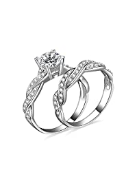 JewelryPalace 1.5ct Infinity Cubic Zirconia Anniversary Promise Wedding Band Engagement Ring Bridal Sets 925 Sterling Silver