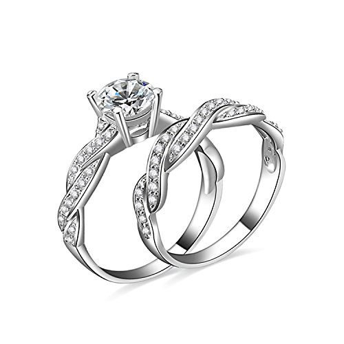 JewelryPalace 1.5ct Infinity Cubic Zirconia Anniversary Promise Wedding Band Engagement Ring Bridal Set 925 Sterling Silver Size 7