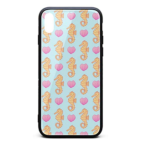 (iPhone X/XS TPU Soft Rubber Case with Hard PC Back Shell Seahorse Love Seashells Valentines Shock Absorption Bumper Cover Slim)